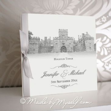 Hoghton Tower Pocketfold Wedding Invitation - Includes RSVP & Guest Information